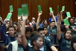 Os alunos propuseram, entre outros assuntos, a simulação de processo eleitoral para a comunidade escolar, de modo a tirar dúvidas sobre o tema